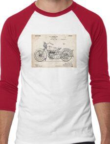 Harley Davidson Motorcycle US Patent Art 1928 Men's Baseball ¾ T-Shirt