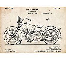 Harley Davidson Motorcycle US Patent Art 1928 Photographic Print