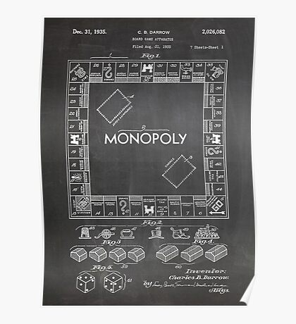 Monopoly Board Game US Patent Art 1935 Blackboard Poster