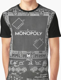 Monopoly Board Game US Patent Art 1935 Blackboard Graphic T-Shirt