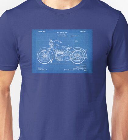 Harley-Davidson Motorcycle US Patent Art 1928 blueprint Unisex T-Shirt