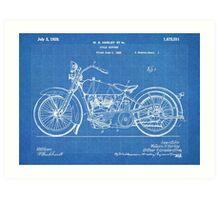 Harley-Davidson Motorcycle US Patent Art 1928 blueprint Art Print