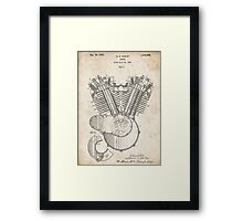 Harley Motorcycle Engine US Patent Art 1923 Harley-Davidson V-Twin Framed Print