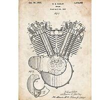 Harley Motorcycle Engine US Patent Art 1923 Harley-Davidson V-Twin Photographic Print