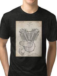 Harley Motorcycle Engine US Patent Art 1923 Harley-Davidson V-Twin Tri-blend T-Shirt