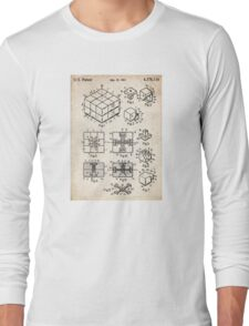 Rubik's Cube Toy Puzzle 1983 US Patent Art Long Sleeve T-Shirt