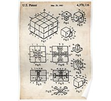 Rubik's Cube Toy Puzzle 1983 US Patent Art Poster
