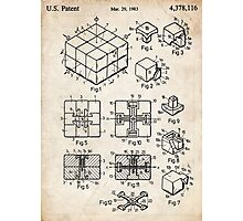 Rubik's Cube Toy Puzzle 1983 US Patent Art Photographic Print