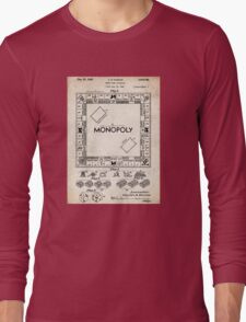 Monopoly Board Game US Patent Art 1935 Long Sleeve T-Shirt