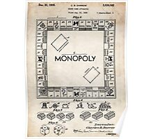 Monopoly Board Game US Patent Art 1935 Poster