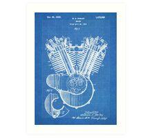 Harley Motorcycle Engine US Patent Art 1923 Harley-Davidson V-Twin Blueprint Art Print