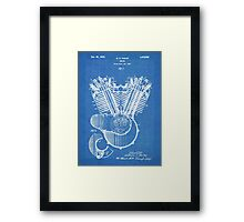 Harley Motorcycle Engine US Patent Art 1923 Harley-Davidson V-Twin Blueprint Framed Print