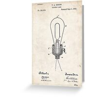 Edison Light Bulb Invention US Patent Art Greeting Card