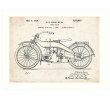 Harley-Davidson Motorcycle US Patent Art 1924 Art Print