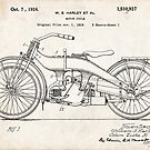 Harley-Davidson Motorcycle US Patent Art 1924 by Steve Chambers