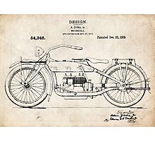 Harley-Davidson Motorcycle US Patent Art Ziska 1919 Photographic Print