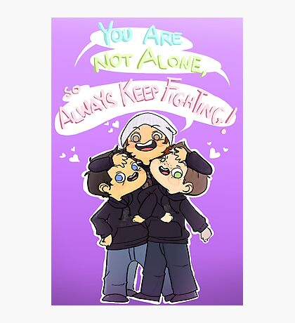 Jared Padalecki, Misha Collins, and Jensen Ackles - Always Keep Fighting/You Are Not Alone Campaign Photographic Print