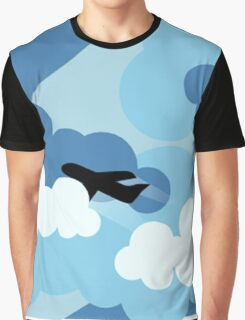 Plane Flying Through Clouds Graphic T-Shirt