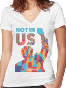 """Not Me, Us"" - Bernie Sanders Women's Fitted V-Neck T-Shirt"