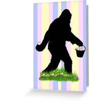 Gone Easter Squatchin with Pastel Background Greeting Card