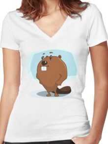 Cartoon Beaver Women's Fitted V-Neck T-Shirt