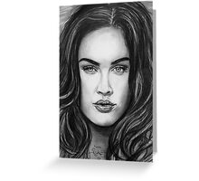 Meg Fox in black and white Greeting Card