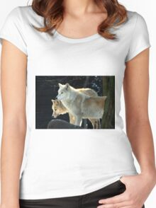 Two young wolves  Women's Fitted Scoop T-Shirt
