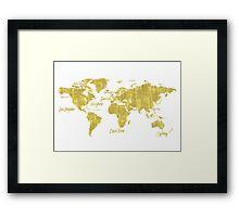Gold world map treasure Framed Print