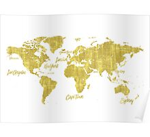 Gold world map treasure Poster