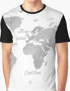 World silver map Jules Verne inspired Graphic T-Shirt