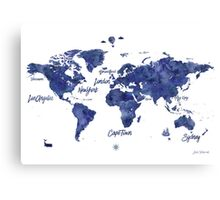 Midnight color world map Jules Verne ed Canvas Print