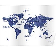 Midnight color world map Jules Verne ed Poster