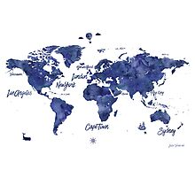 Midnight color world map Jules Verne ed Photographic Print