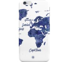 Midnight color world map Jules Verne ed iPhone Case/Skin