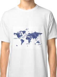Midnight color world map Jules Verne ed Classic T-Shirt