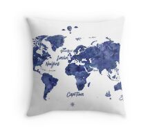 Midnight color world map Jules Verne ed Throw Pillow
