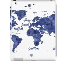 Midnight color world map Jules Verne ed iPad Case/Skin