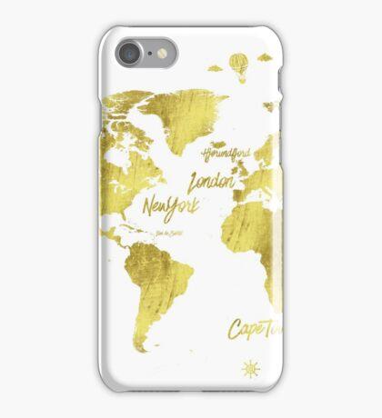 Gold world map Jules Verne inspiring iPhone Case/Skin