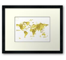 Gold world map Jules Verne inspiring Framed Print