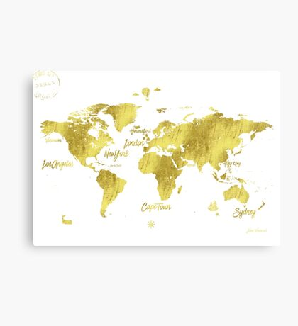 Gold world map Jules Verne inspiring Canvas Print
