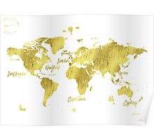 Gold world map Jules Verne inspiring Poster