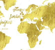Gold world map Jules Verne inspiring Sticker