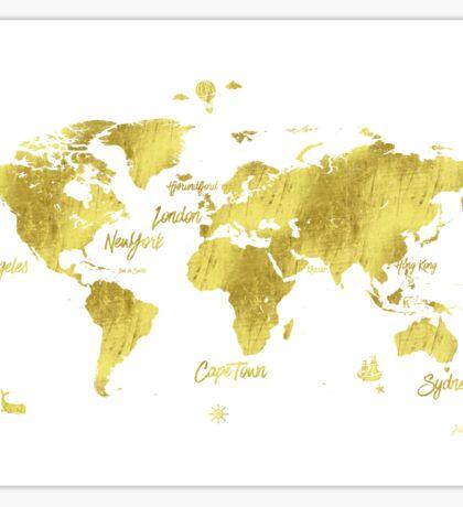 Gold world map Jules Verne inspiring Sticker
