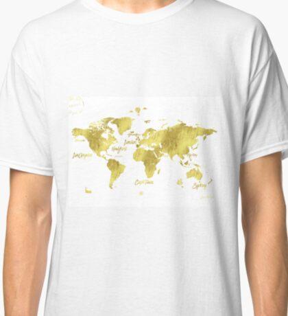 Gold world map Jules Verne inspiring Classic T-Shirt