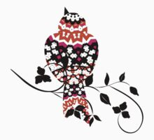 Fancy Patterned Bird On A Branch  One Piece - Long Sleeve