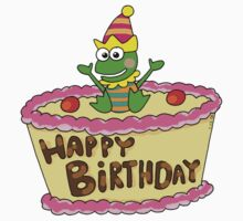 Happy birthday cake with party frog Kids Tee