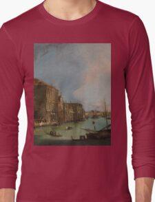Canaletto Bernardo Bellotto - The Grand Canal in Venice with the Rialto Bridge 1724 Long Sleeve T-Shirt