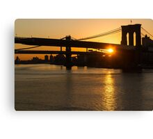 New York City Magic - Iconic Brooklyn Bridge Sunrise Canvas Print