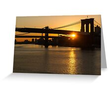 New York City Magic - Iconic Brooklyn Bridge Sunrise Greeting Card