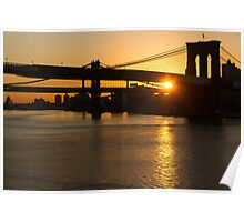 New York City Magic - Iconic Brooklyn Bridge Sunrise Poster